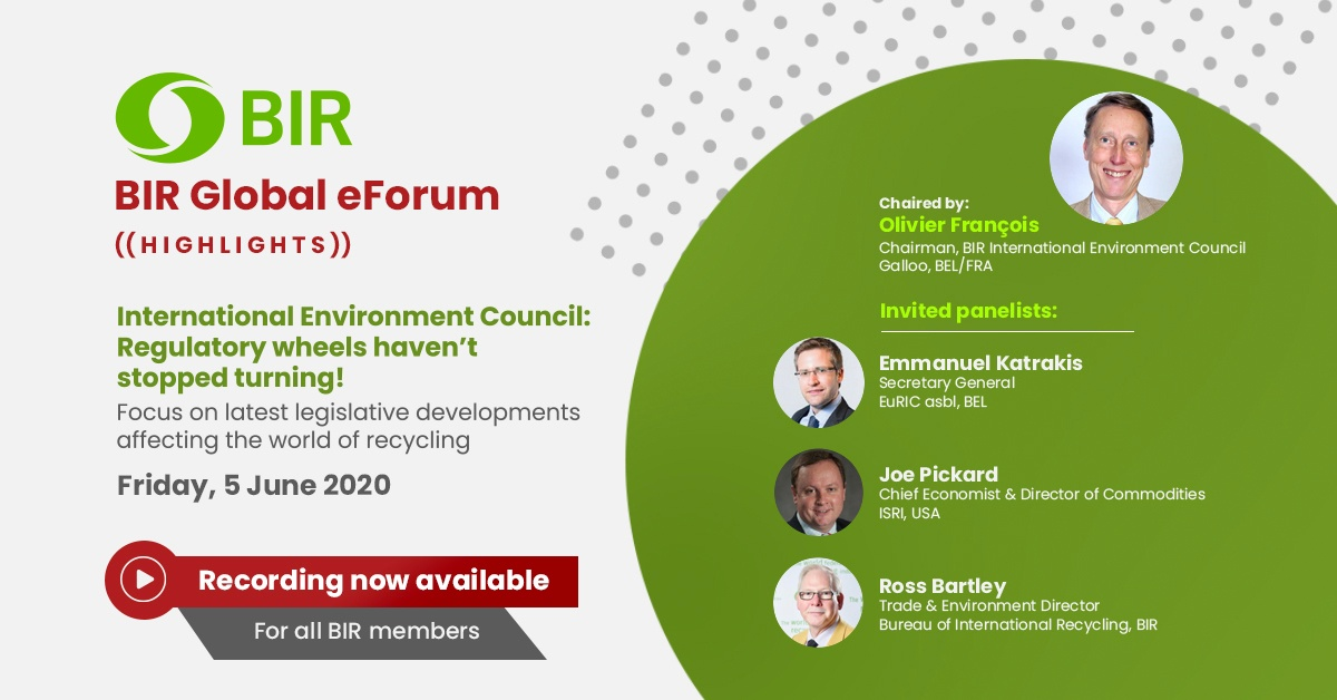 International Environment Council:  Regulatory wheels haven't stopped turning! Focus on latest legislative developments affecting the world of recycling